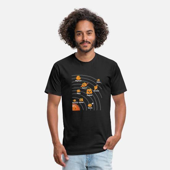 Pluto T-Shirts - HALLOWEEN SALAR SYSTEM PUMPKIN PLANETS FUNNY GIFT - Unisex Poly Cotton T-Shirt black