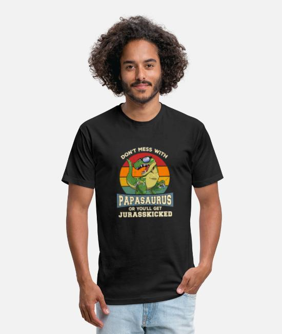 Grandpa T-Shirts - Don't Mess With PapaSaurus You'll Get JurassKicked - Unisex Poly Cotton T-Shirt black