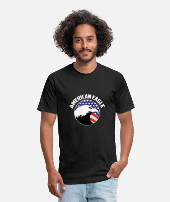 American Football T-Shirts - american eagle flag - Unisex Poly Cotton T-Shirt black