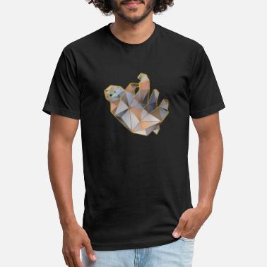 Hanging Sloth Geometric Gold Lines 2 - Unisex Poly Cotton T-Shirt