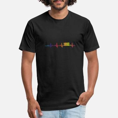1993 25th Birthday 1993 Hearbeat Rainbow Colors - Unisex Poly Cotton T-Shirt