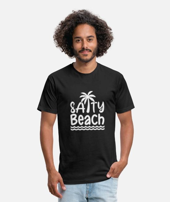 Beach Umbrella T-Shirts - Salty beach - Unisex Poly Cotton T-Shirt black