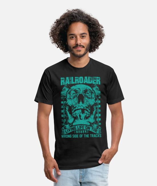 Station T-Shirts - Railroader Living life on the wrong side Railroad - Unisex Poly Cotton T-Shirt black