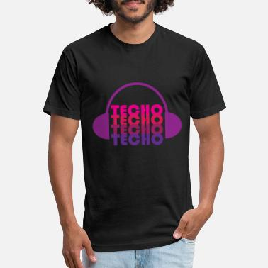 Techno Music Techno Love with headphone design - Unisex Poly Cotton T-Shirt