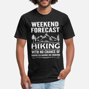 Forecast Weekend Forecast Hiking With Clearning or Cooking - Unisex Poly Cotton T-Shirt
