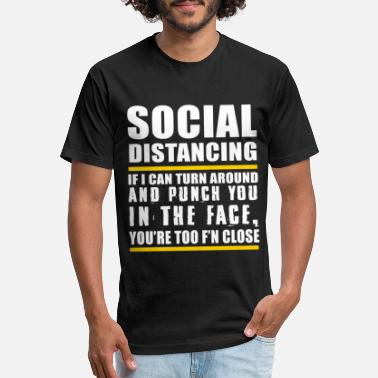 Turn Social distancing if I can turn around and punch - Unisex Poly Cotton T-Shirt