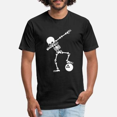 Bowling Ball Dab skeleton dabbing bowling ball - Unisex Poly Cotton T-Shirt
