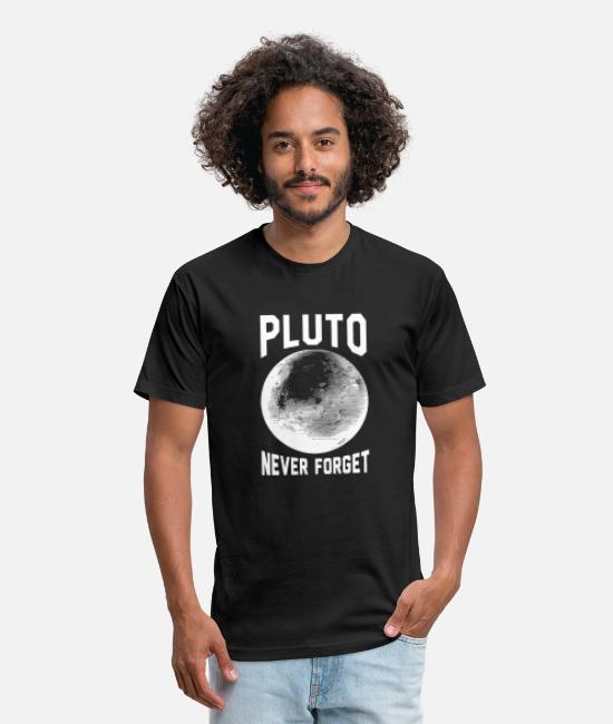 Space T-Shirts - Pluto - pluto never forget - Unisex Poly Cotton T-Shirt black