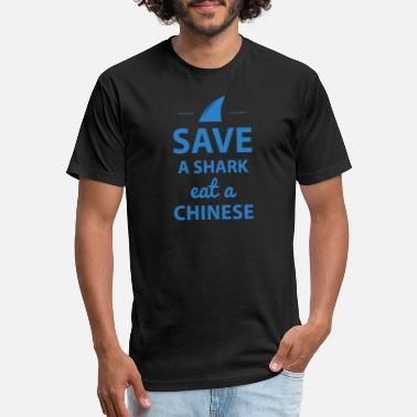 Save Sharks Save A Shark Eat A Chinese Funny T Shirt - Unisex Poly Cotton T-Shirt