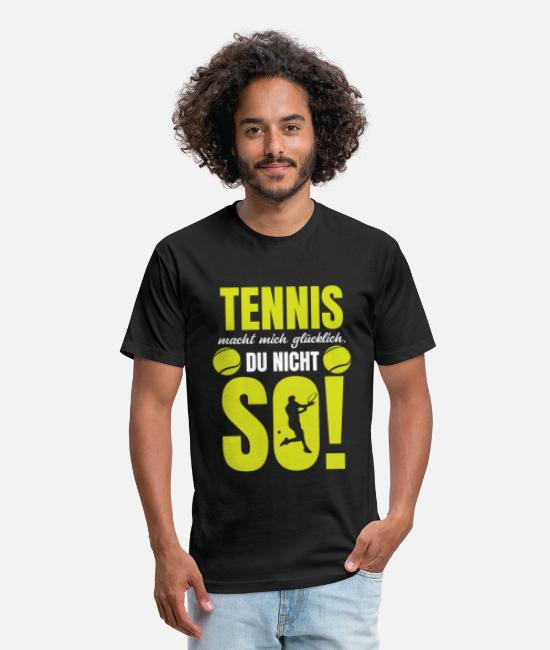 Tennis Match T-Shirts - Funny german tennis quote tennisball tennis - Unisex Poly Cotton T-Shirt black