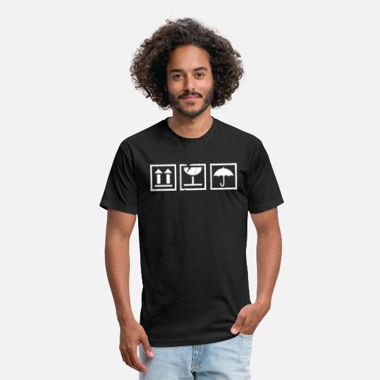 Gift Idea T-Shirts - Handle With Care / Valuable content / Mindfulness - Unisex Poly Cotton T-Shirt black