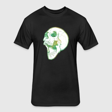Fuzzy Green Skull - Fitted Cotton/Poly T-Shirt by Next Level
