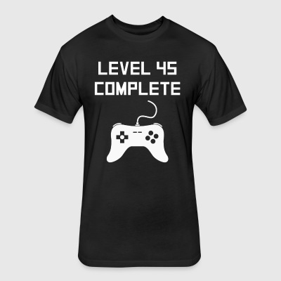 Level 45 Complete Video Games 45th Birthday - Fitted Cotton/Poly T-Shirt by Next Level