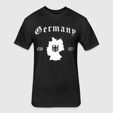 Germany map retro style - Fitted Cotton/Poly T-Shirt by Next Level