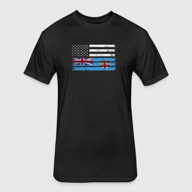 Fijian American Flag - USA Fiji Shirt - Fitted Cotton/Poly T-Shirt by Next Level