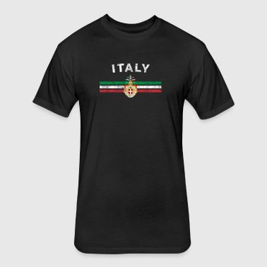 Italian Flag Shirt - Italian Emblem & Italy Flag S - Fitted Cotton/Poly T-Shirt by Next Level