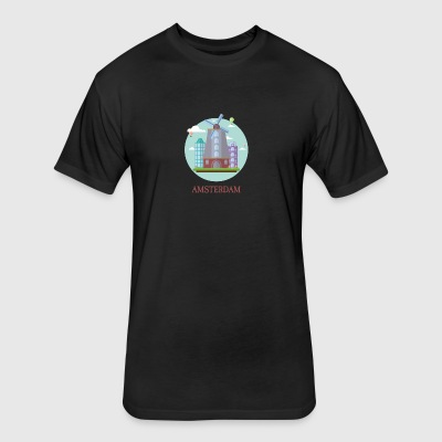 Amsterdam Netherlands Tourist Souvenir Artwork - Fitted Cotton/Poly T-Shirt by Next Level