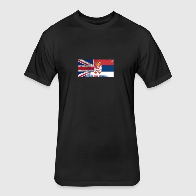 British Serbian Half Serbia Half UK Flag - Fitted Cotton/Poly T-Shirt by Next Level