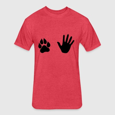 Hand and Paw, Dog and Human - Fitted Cotton/Poly T-Shirt by Next Level