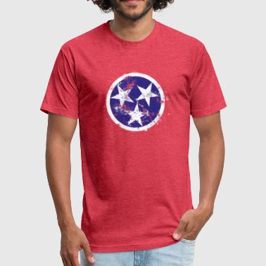 Tennessee State Flag Distressed Tennessee Flag - Fitted Cotton/Poly T-Shirt by Next Level