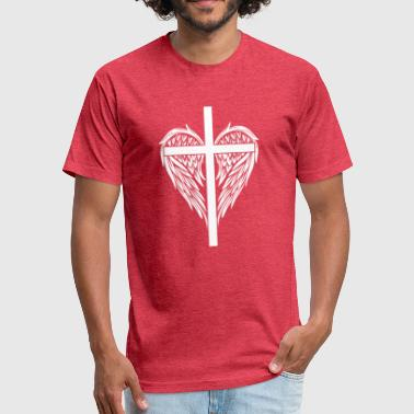 Christian cross and wings - Fitted Cotton/Poly T-Shirt by Next Level
