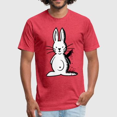 ripper bunny (front, 3c) - Fitted Cotton/Poly T-Shirt by Next Level