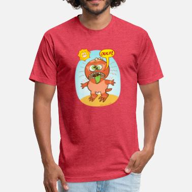 Sunburn Bad summer sunburn for a funny dinosaur - Fitted Cotton/Poly T-Shirt by Next Level