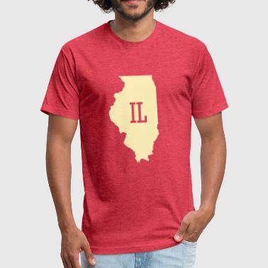 Illinois Prairie State Illinois State Map Abbreviation IL - Fitted Cotton/Poly T-Shirt by Next Level