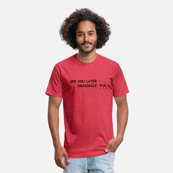 Crocodile T-Shirts - See You Later Crocodile - Unisex Poly Cotton T-Shirt heather red