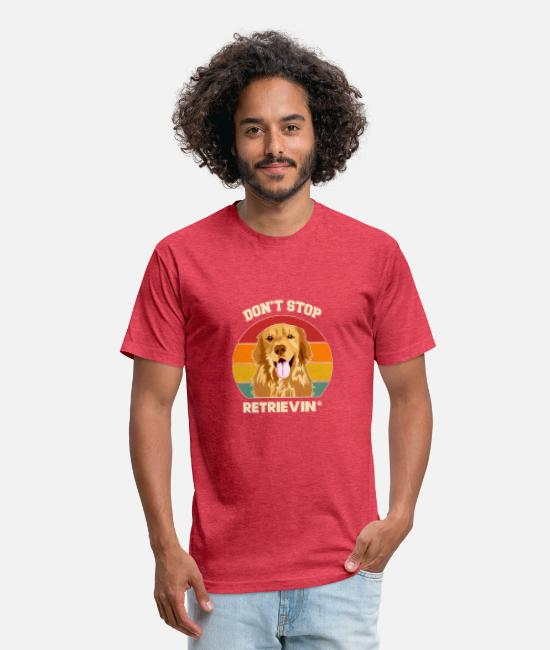 Dog Owner T-Shirts - Don't Stop Retrieving Golden Retriever Dog Lover - Unisex Poly Cotton T-Shirt heather red