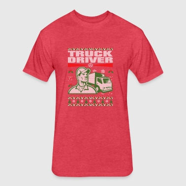 Truck Driver Ugly Christmas Sweater - Fitted Cotton/Poly T-Shirt by Next Level