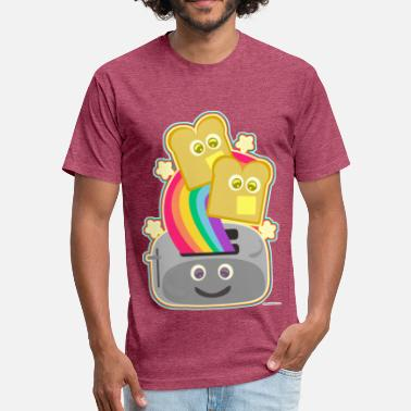 Rainbow Kawaii Fun Happy Kawaii Rainbow Toast - Fitted Cotton/Poly T-Shirt by Next Level