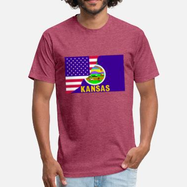 USA-Kansas Flag. Both flags in one united. - Fitted Cotton/Poly T-Shirt by Next Level