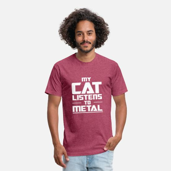 Metal Toy T-Shirts - My Cat listens to metal - Unisex Poly Cotton T-Shirt heather burgundy