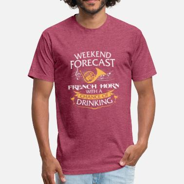 Drinking Horns Weekend Forecast French Horn With Drinking - Fitted Cotton/Poly T-Shirt by Next Level