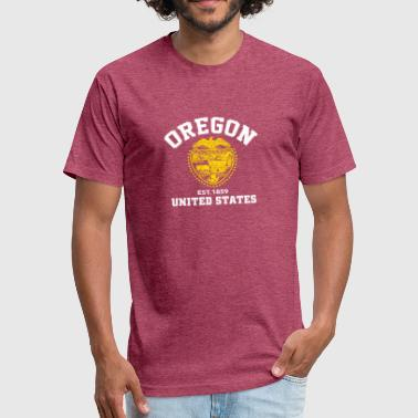 1859 Oregon USA Est 1859 Patriotic Flag - Fitted Cotton/Poly T-Shirt by Next Level