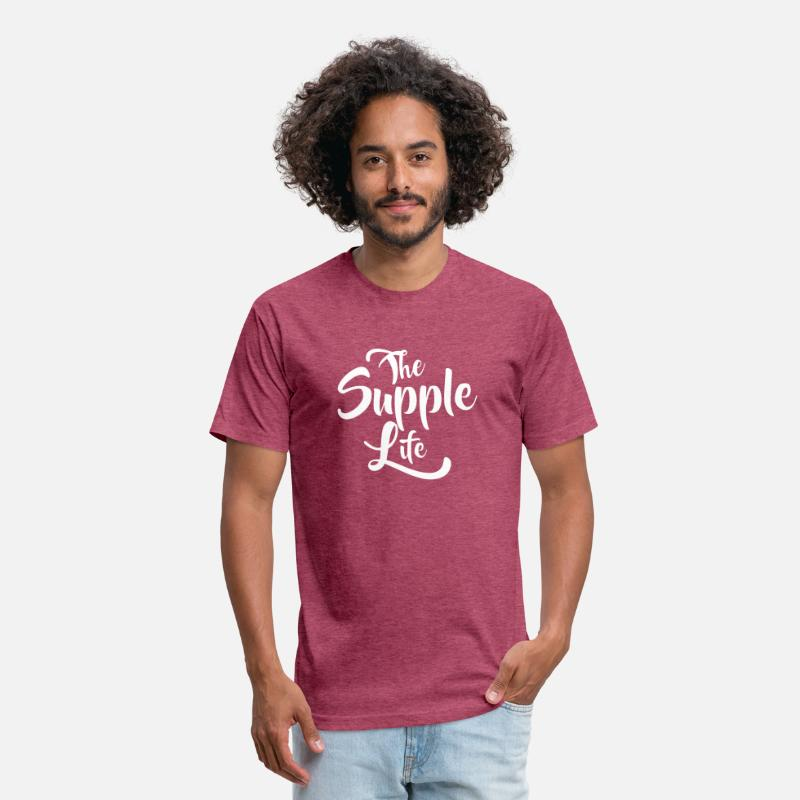Bicycle T-Shirts - The Supple Life - Script - Flock Print - Unisex Poly Cotton T-Shirt heather burgundy