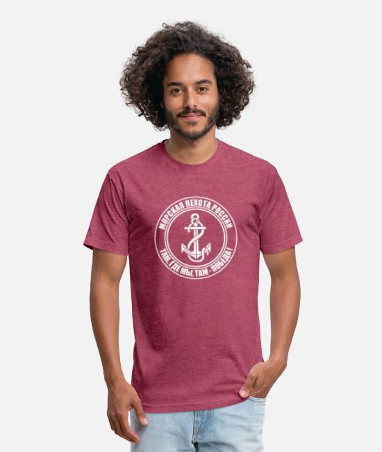 Army T-Shirts - Russian Marine Corps - Unisex Poly Cotton T-Shirt heather burgundy
