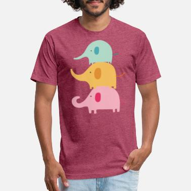 Cute Family of Colorful Elephants - Unisex Poly Cotton T-Shirt