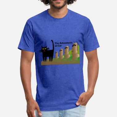 Easter Cat Visits Easter Island - Fitted Cotton/Poly T-Shirt by Next Level