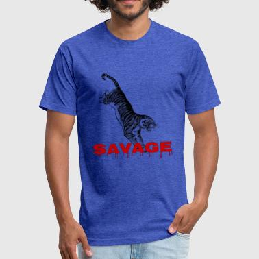 Savage Cat Savage - Fitted Cotton/Poly T-Shirt by Next Level