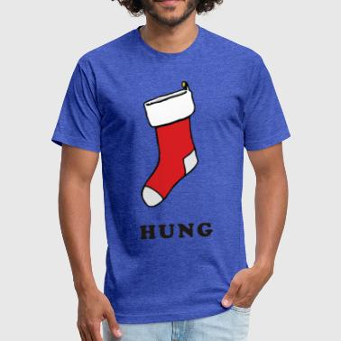 Hung Jokes hung stocking Funny Christmas - Fitted Cotton/Poly T-Shirt by Next Level
