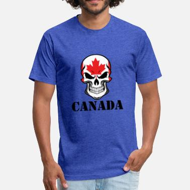 Canadian Skull Canadian Flag Skull Canada - Fitted Cotton/Poly T-Shirt by Next Level
