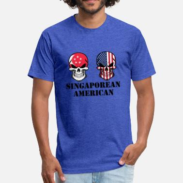 Singaporean Singaporean American Flag Skulls - Fitted Cotton/Poly T-Shirt by Next Level