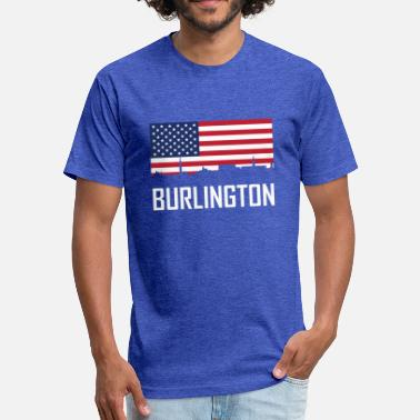 Burlington Vt Burlington Vermont Skyline American Flag - Fitted Cotton/Poly T-Shirt by Next Level