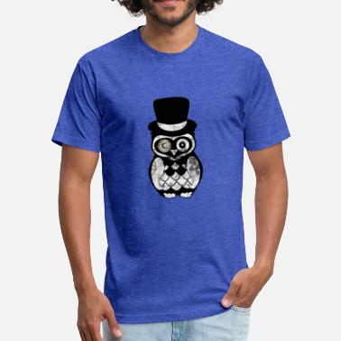 Goggley Eyes Owl gentleman eye worn look - Fitted Cotton/Poly T-Shirt by Next Level