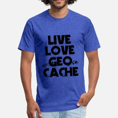 Night Cache Live Love Geo Cache - Fitted Cotton/Poly T-Shirt by Next Level