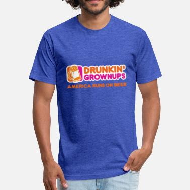 Drunkin Grownups Drunkin Grownups America Runs On Beer Tee Shirt - Fitted Cotton/Poly T-Shirt by Next Level