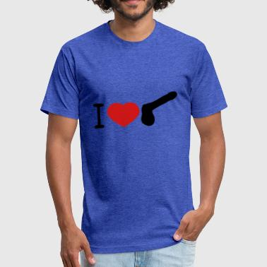 Penis Lover i love heart gay gay cock lover penis big man male - Fitted Cotton/Poly T-Shirt by Next Level