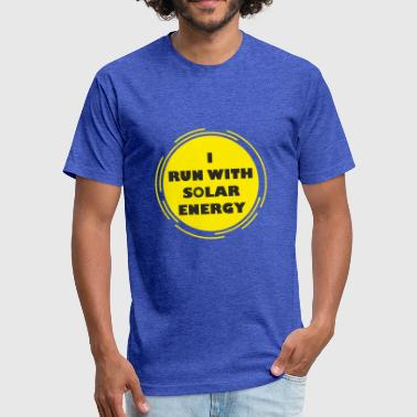 funny run with solar energy design - Fitted Cotton/Poly T-Shirt by Next Level